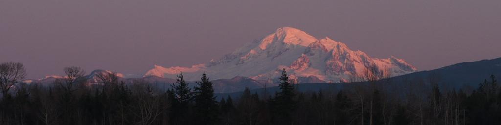 Banner: Alpenglow on Mt. Baker.